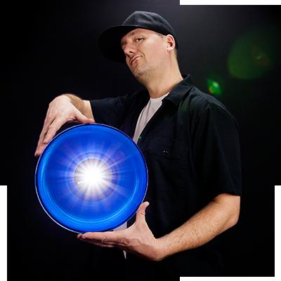 DJ Freshleecut with glowing blue vinyl record